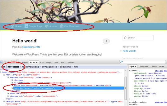 WordPress Custom Menu - Screenshot of developer tools 1