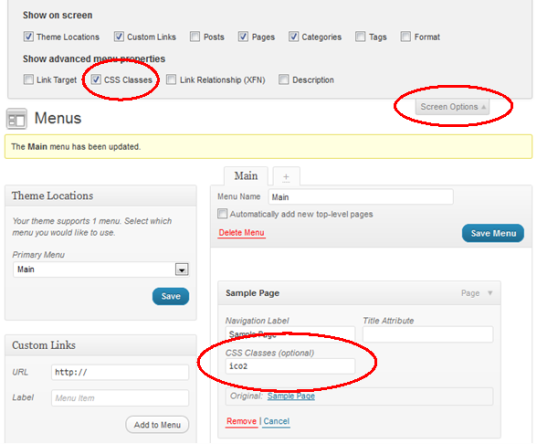 WordPress Menu Images - How to assign CSS classes to WordPress menu items