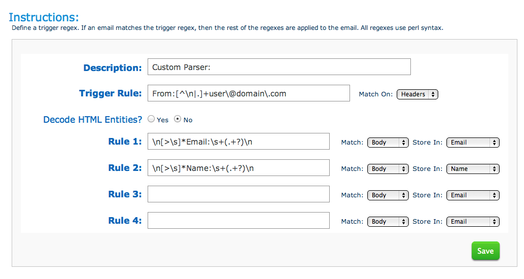 Create a new Aweber Email Parser