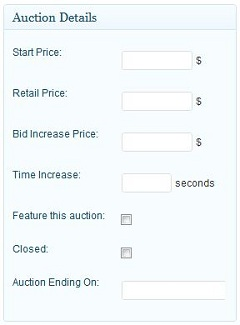 "A Screenshot Of The ""Add New Auction"" Settings From The WordPress Theme"