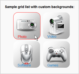 WordPress Media Library Lists - Screenshot of grid list with clickable background images