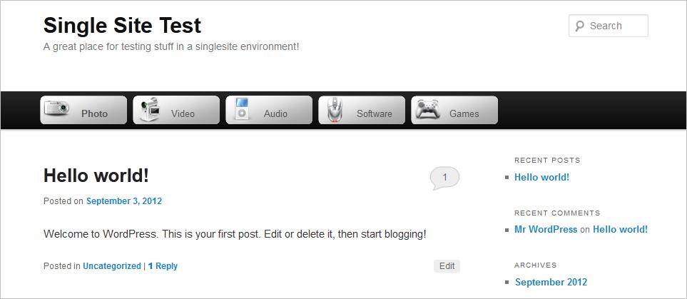 WordPress Menu Images - Screenshot of Twenty-Eleven theme with image menu