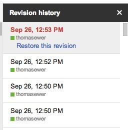 Google Drive Revision History