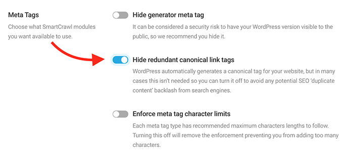 hide redundant canonical tags.