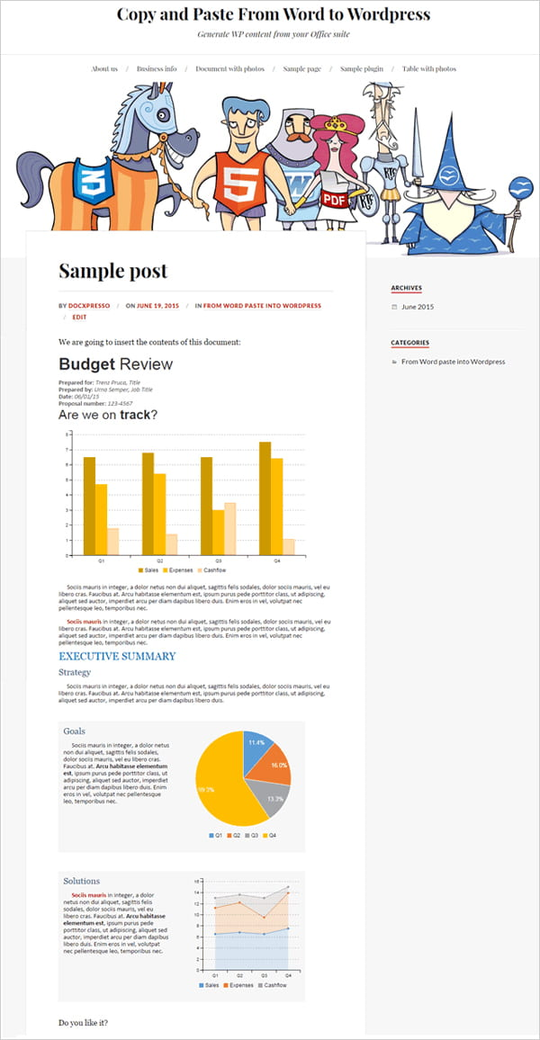 Sample document embedded into WordPress post using Docxpresso.