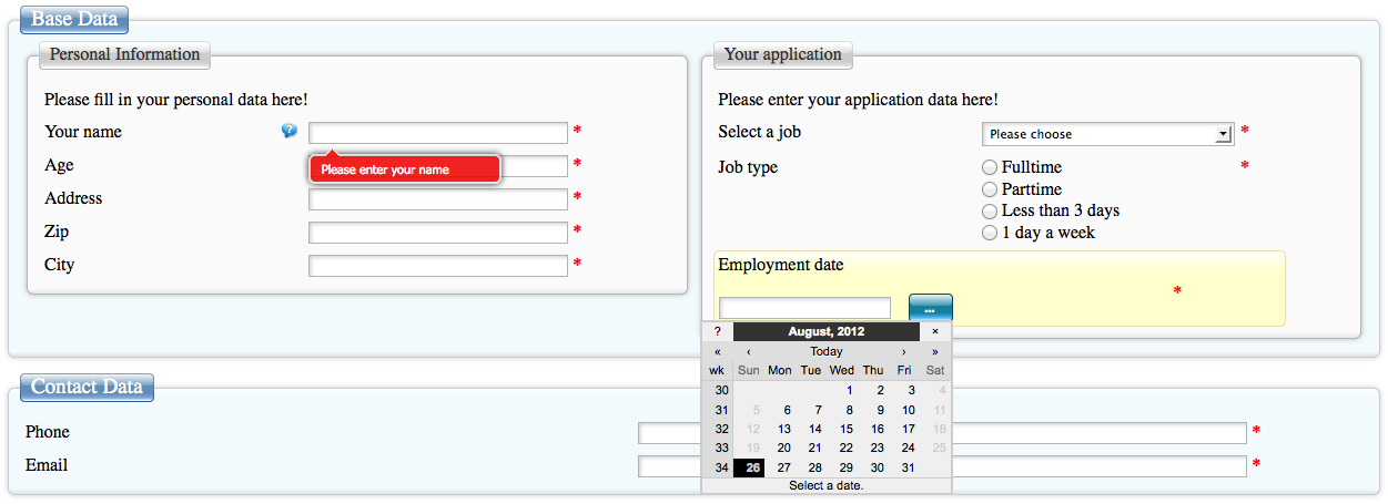 example job application form using Breezing Forms