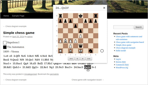 RPB Chessboard plugin screenshot.