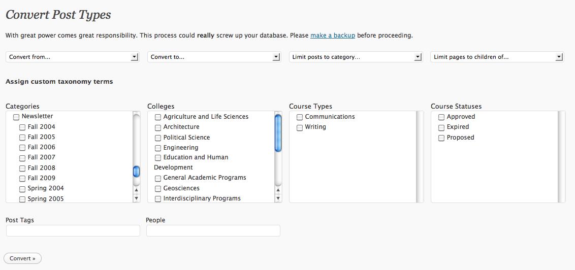 WordPress Convert Post Types plugin screenshot WP header banner