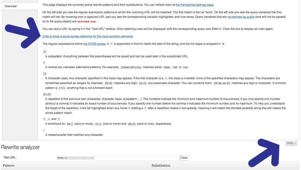 WordPress Rewrite Rule Tester plugin - Monkeyman Expanded Help Info