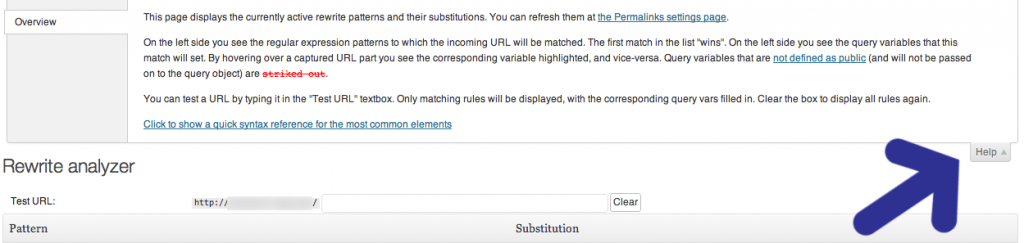 WordPress Rewrite Rule Tester plugin - Monkeyman Help Info