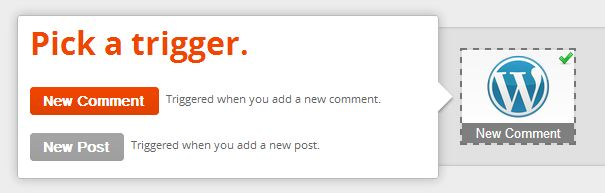 "Screenshot of ""Pick A [WordPress] Trigger""."