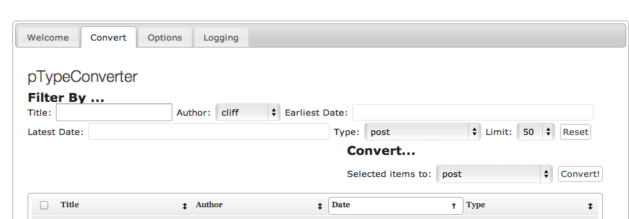 pTypeConverter WordPress search and sort options
