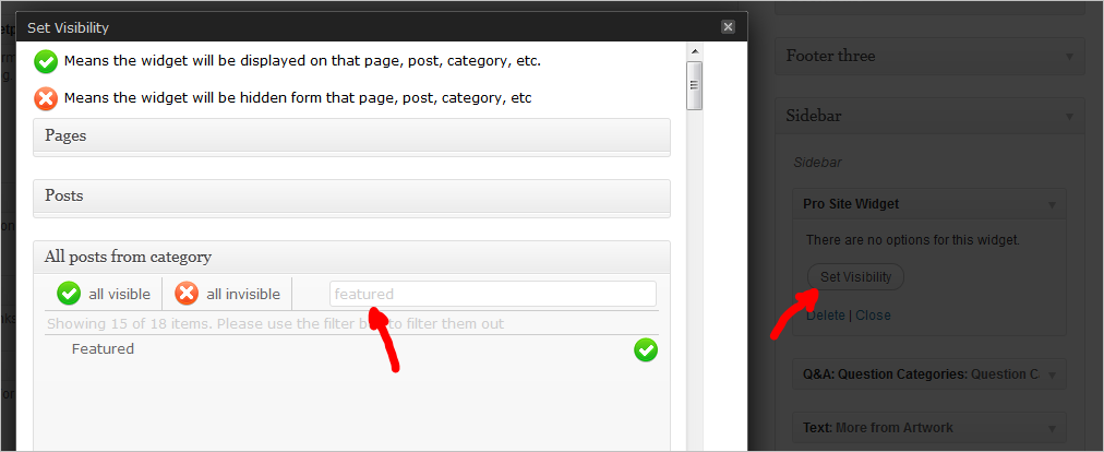 WordPress Sidebar Plugin - Widget visibility settings