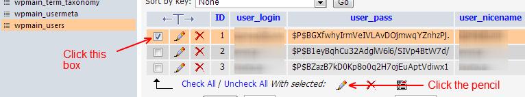 Portable phpMyAdmin Select User To Modify