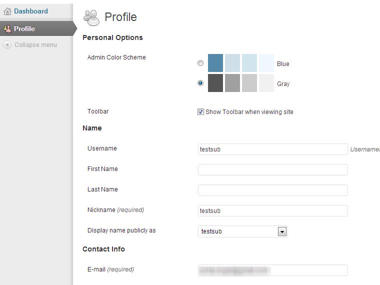 WordPress Portable phpMyAdmin - Subscriber Login Profile Page