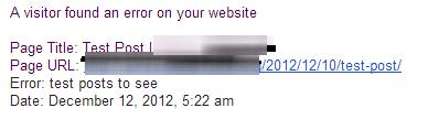WordPress Error Reporting Plugin - Email Notification