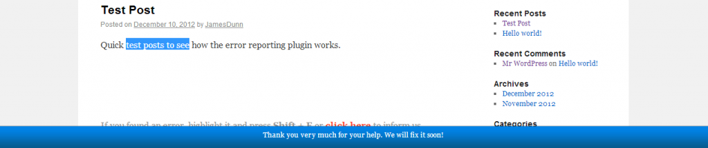 WordPress Error Reporting Plugin - Error Reported Thank You Message