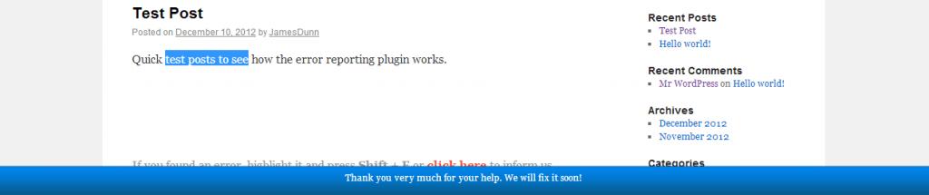 WordPress Error Reporting Plugin - Error Reported Thank You Message