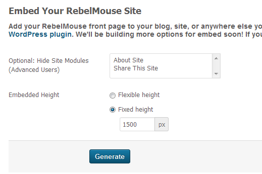 RebelMouse Embed Code Production