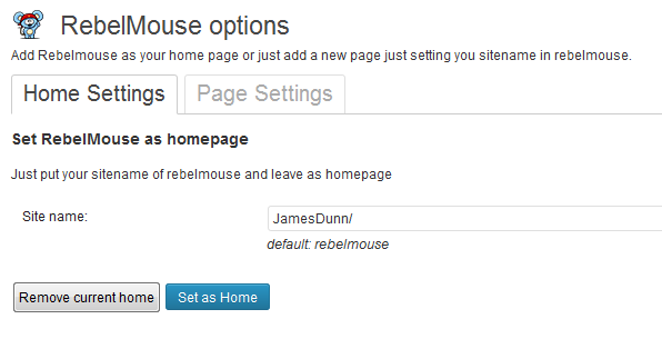 RebelMouse WordPress Plugin Settings Page - Home Page