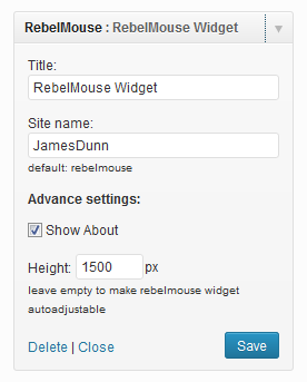 RebelMouse WordPress Widget Settings