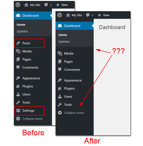 Before and after removing posts and settings menu.