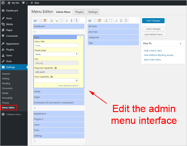 Edit the admin menu interface.