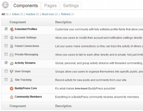 BuddyPress component screen