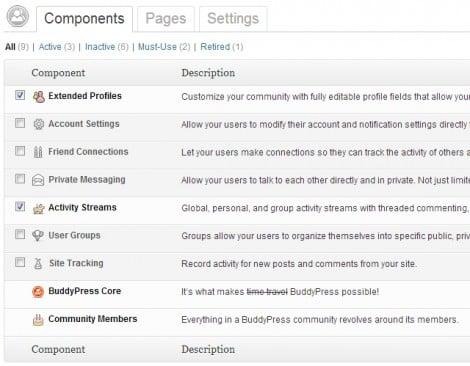 BuddyPress component screen