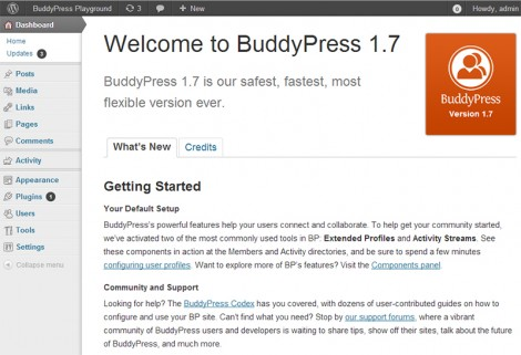 The new BuddyPress wecome screen