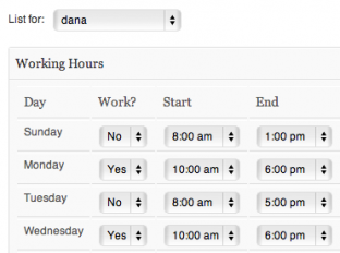 Fill in the working hours for your business or working hours for each of your staff members.