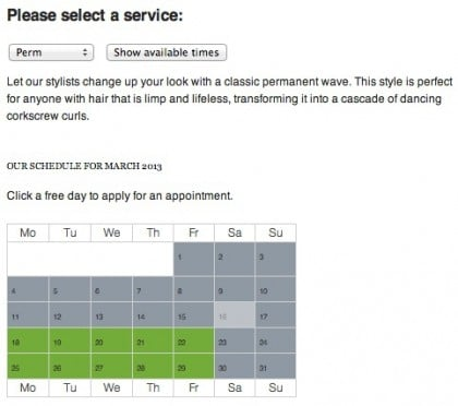 Services pages provide clients with information about your perms, buzz cuts, comb overs, and mullets.