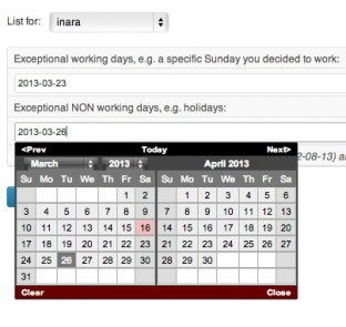 You can specify your workers' days off or swapped shifts.