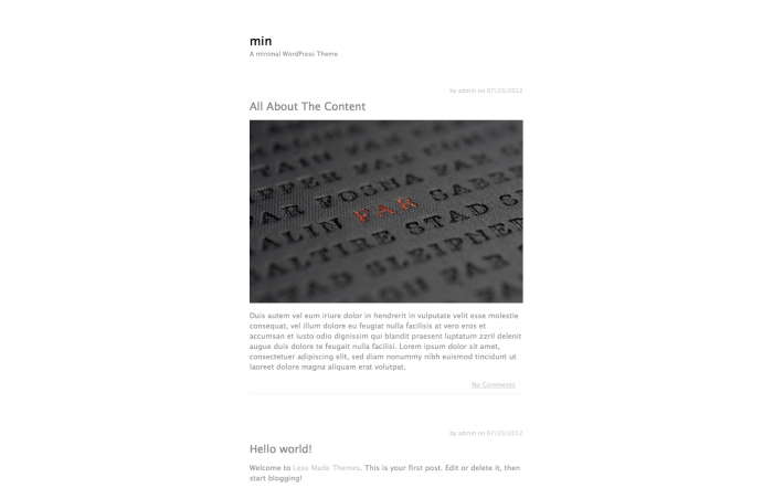 min. WordPress theme