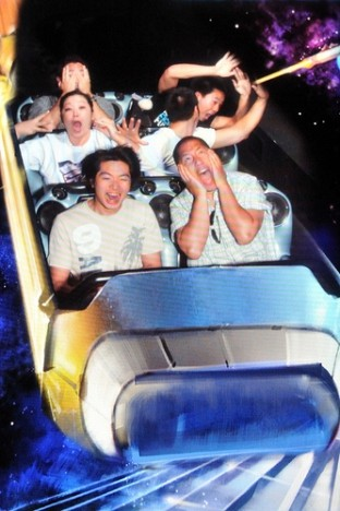 Riding Space Mountain at Disneyland