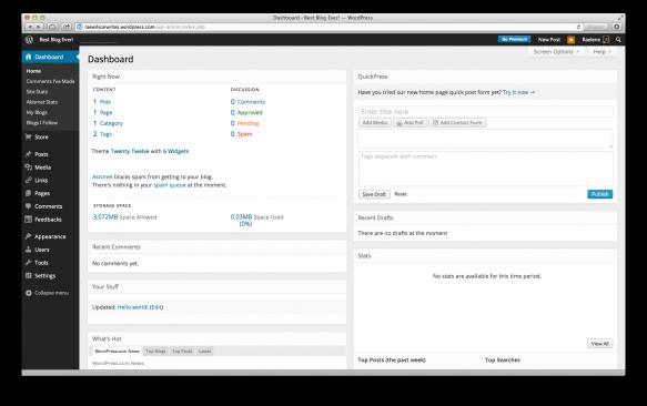 New WordPress.com dashboard