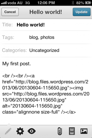 WordPress iOS mobile post in version 3.6