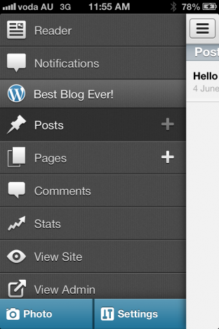 WordPress iOS mobile sidebar in version 3.6