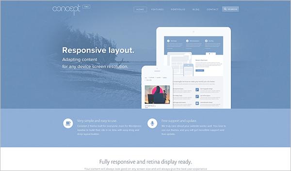 Concept 2 flat WordPress theme