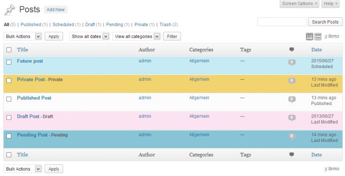 Default post status colors