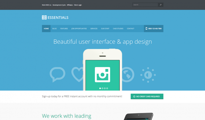 Essentials flat WordPress theme