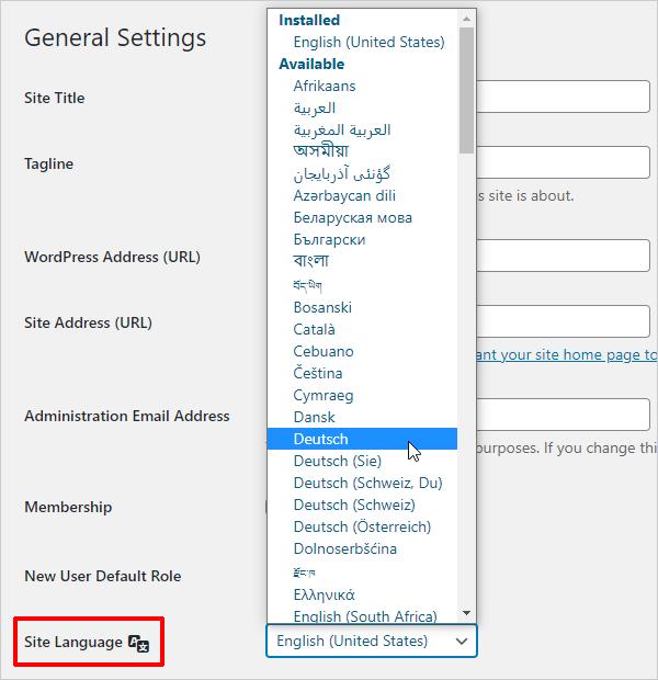 WordPress General Settings - Site Language