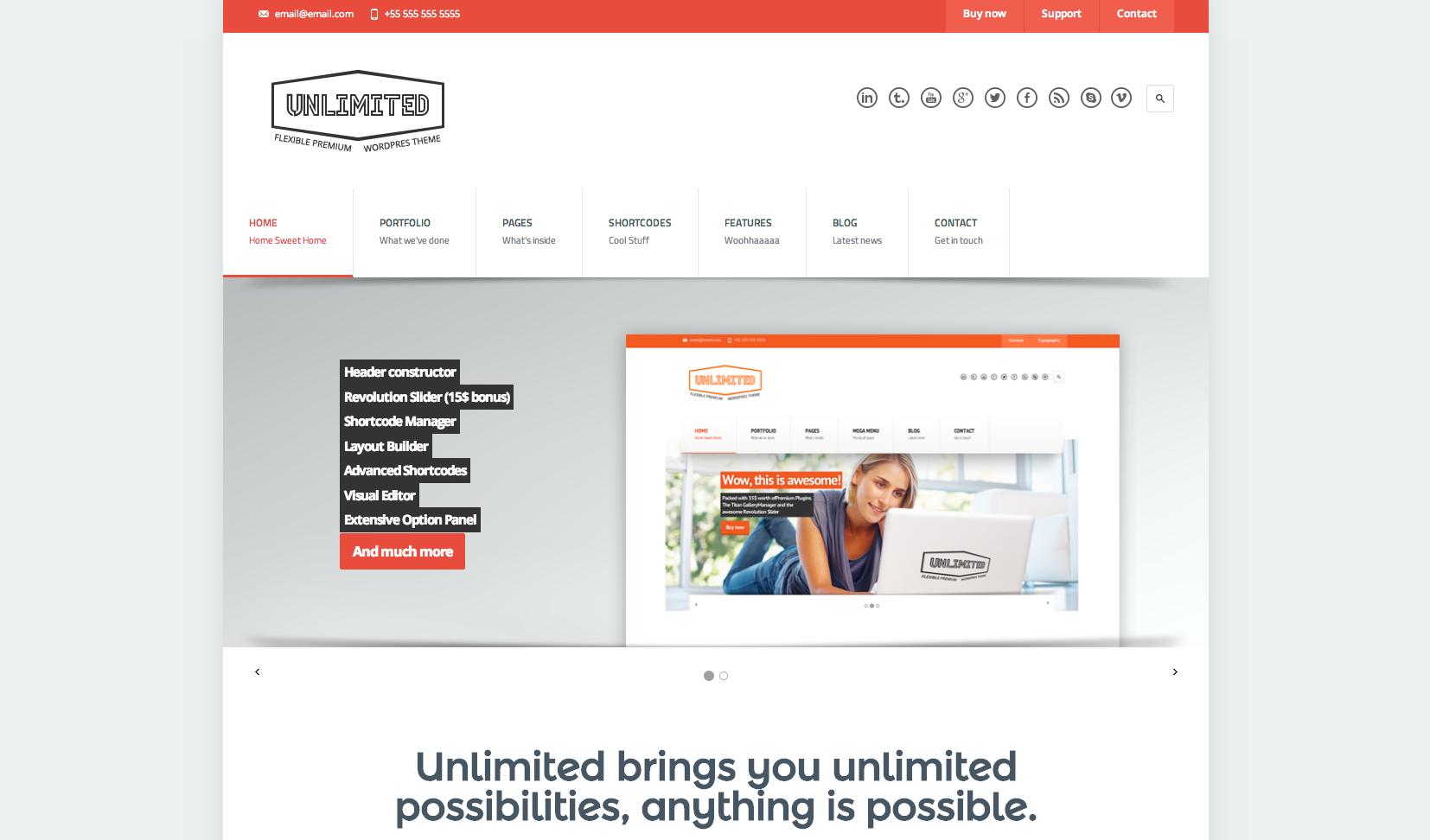 Unlimited flat WordPress theme