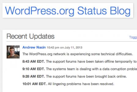 WordPress.org Status Blog