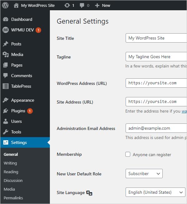 WordPress General Settings screen.