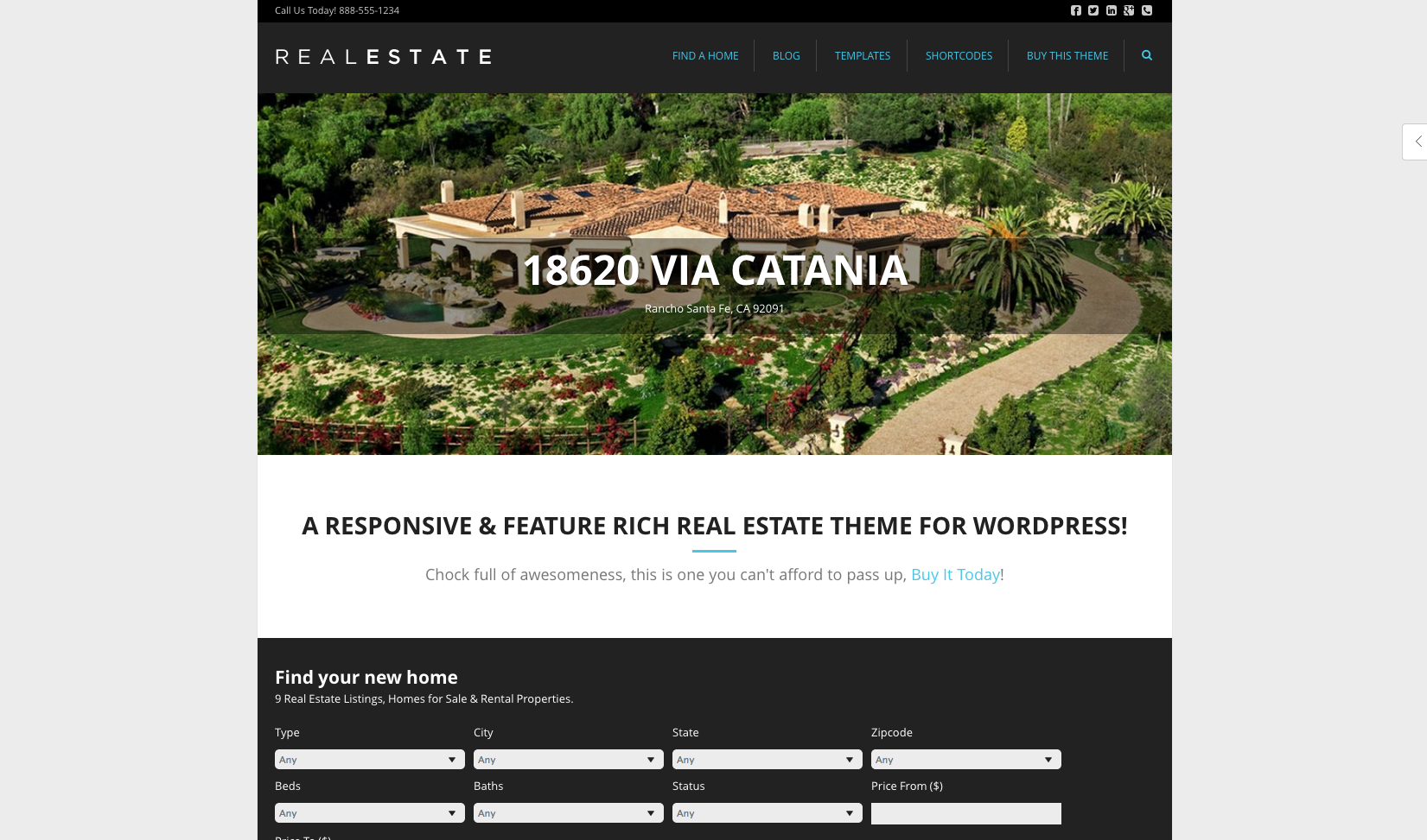 WP Pro Real Estate 5 flat WordPress theme
