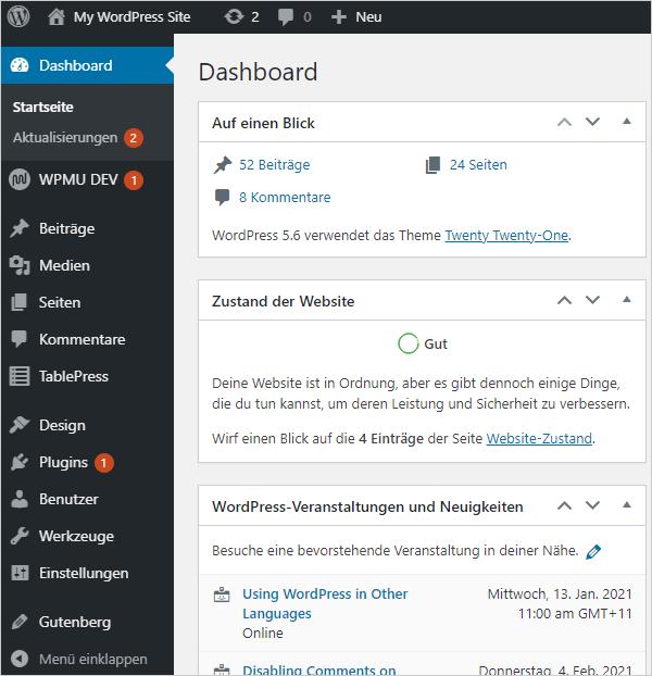 A WordPress Site translated into German.