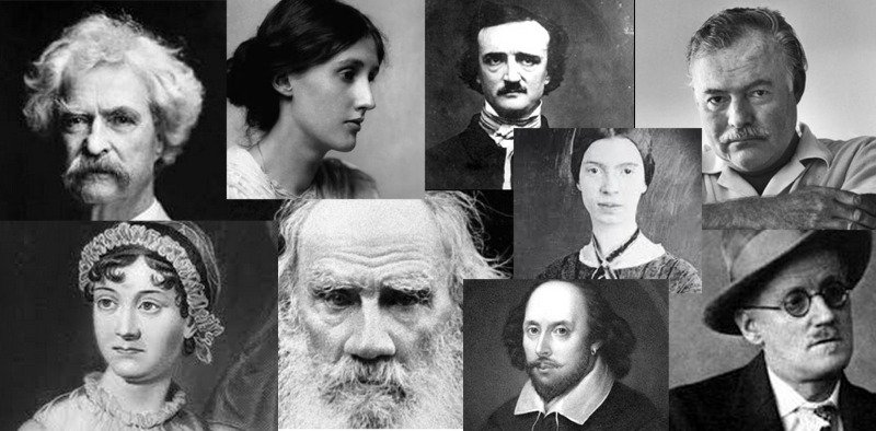 (Top – L to R) Mark Twain, Virginia Woolf, Edgar Allan Poe, Ernest Hemingway(Bottom – L to R) Jane Austen, Leo Tolstoy, William Shakespeare (bottom), Emily Dickinson (top), James Joyce     (Top – L to R) Mark Twain, Virginia Woolf, Edgar Allan Poe, Ernest Hemingway     (Bottom – L to R) Jane Austen, Leo Tolstoy, William Shakespeare (bottom), Emily Dickinson (top), James Joyce