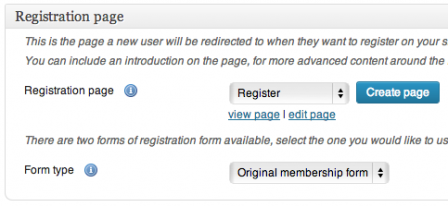 WPMU DEV Membership page options