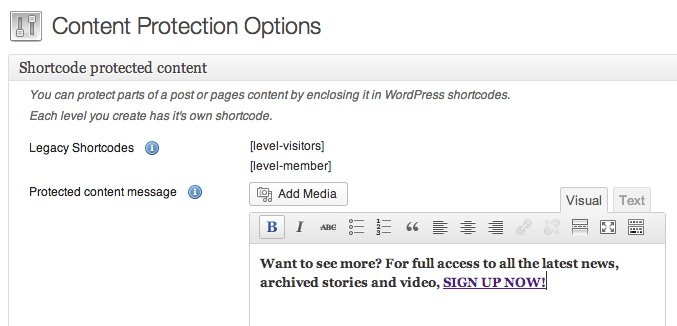WPMU DEV Membership plugin Content Protection Options